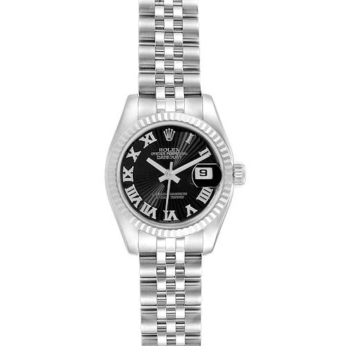 Photo of Rolex Datejust Steel White Gold Black Sunbeam Dial Ladies Watch 179174