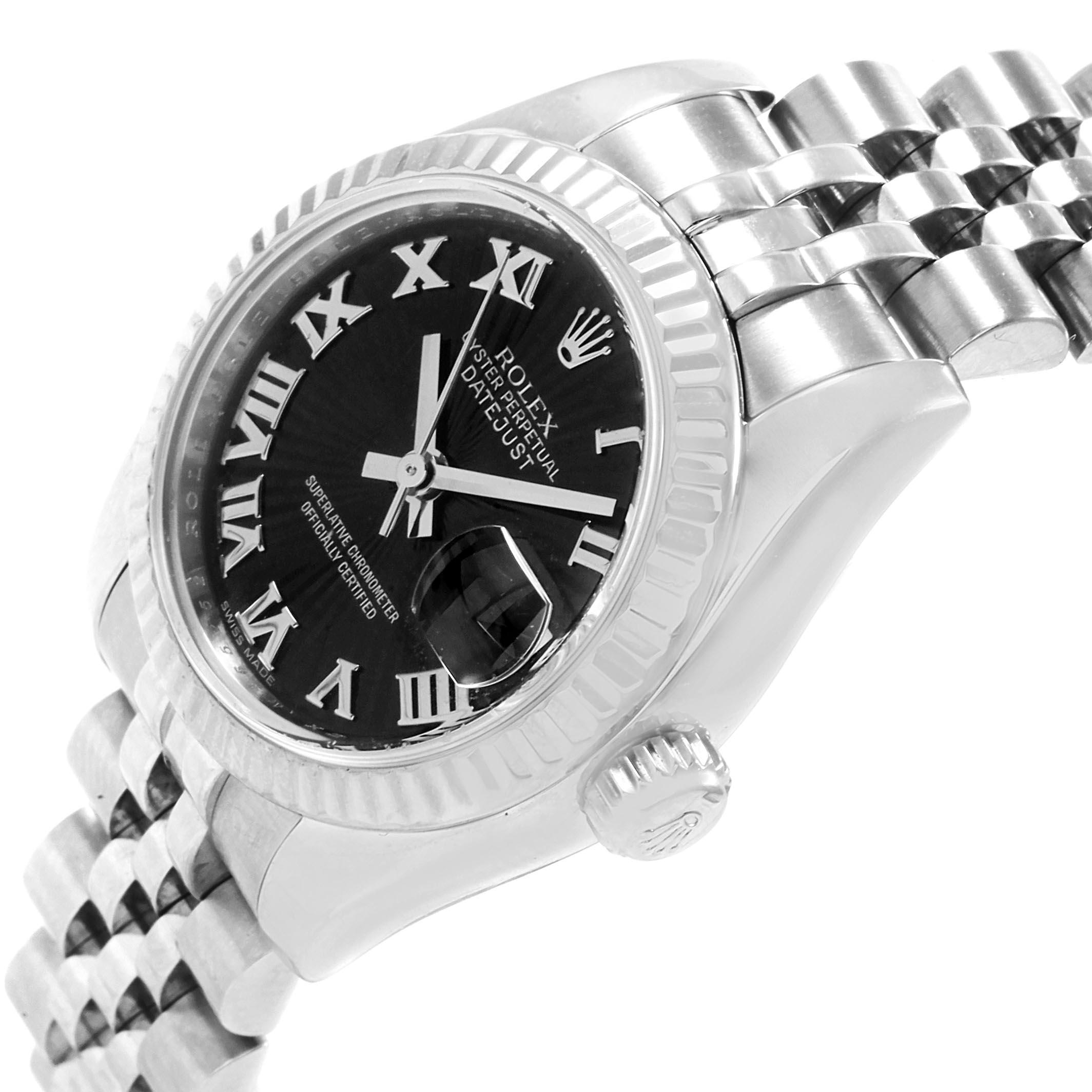 Rolex Datejust Steel White Gold Black Sunbeam Dial Ladies Watch 179174 SwissWatchExpo
