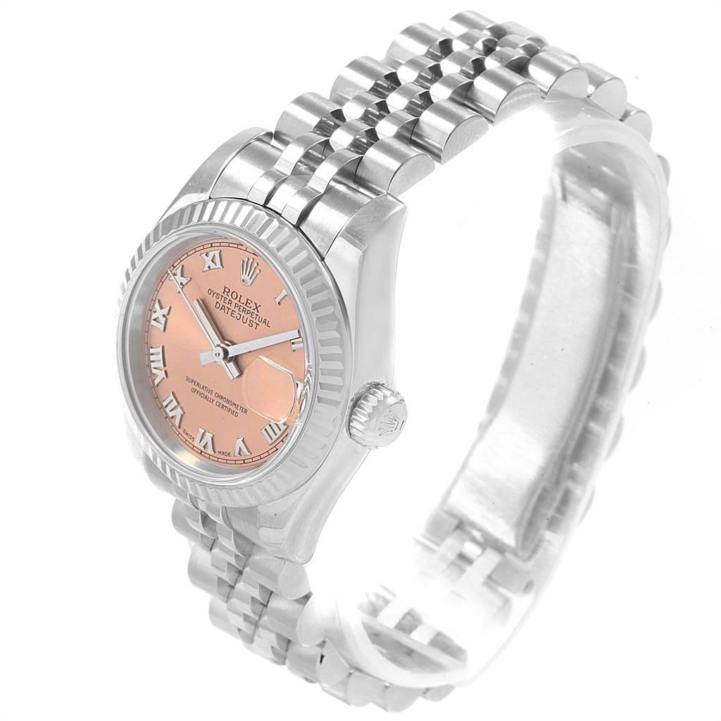 19052 Rolex Datejust Steel White Gold Salmon Roman Dial Ladies Watch 179174 SwissWatchExpo