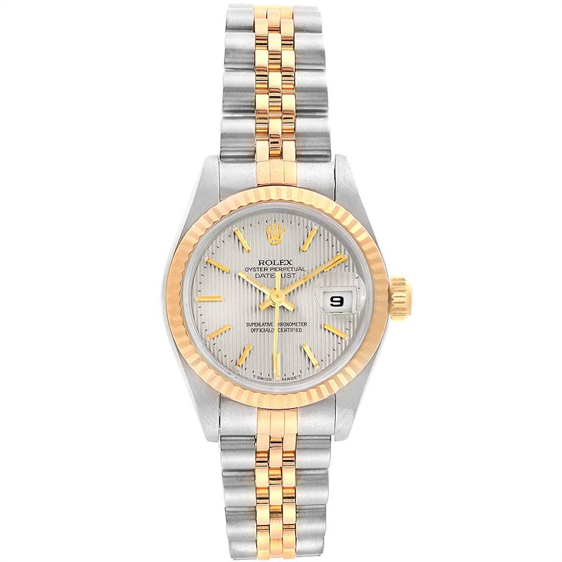 Rolex Datejust Steel Yellow Gold Silver Tapestry Dial Ladies Watch 69173 SwissWatchExpo