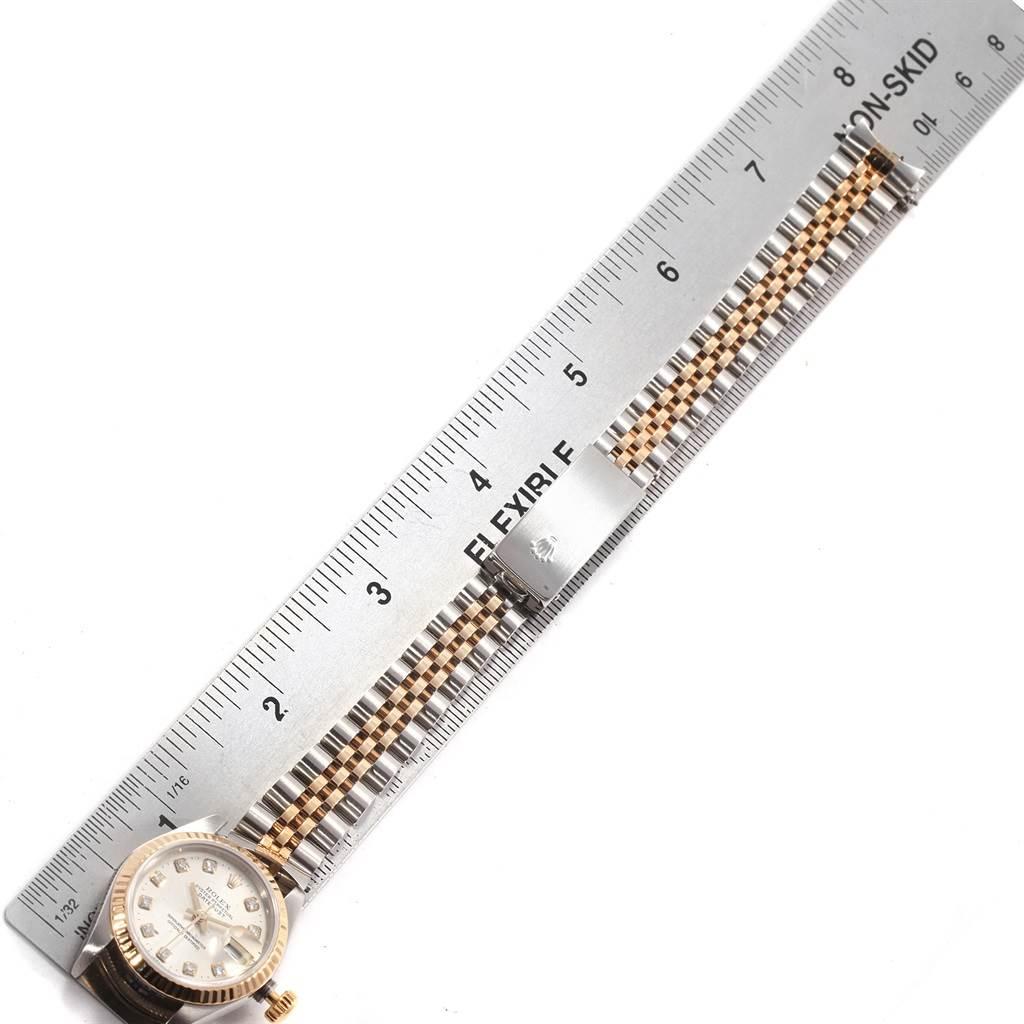 Rolex Datejust Yellow Gold Steel Diamond Ladies Watch 69173 Box Papers SwissWatchExpo