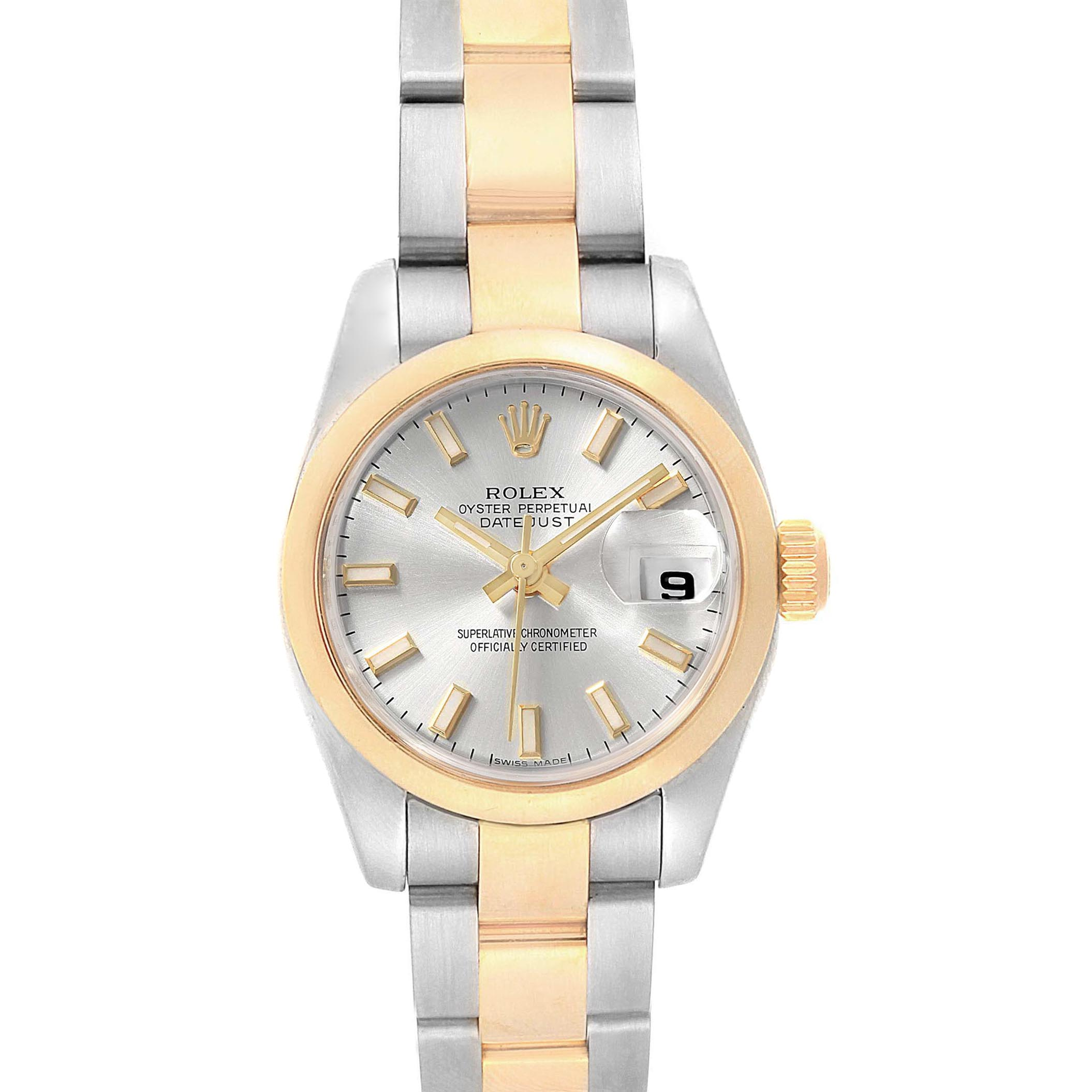 Rolex Datejust Ladies Steel 18K Yellow Gold Silver Dial Watch 179163 SwissWatchExpo