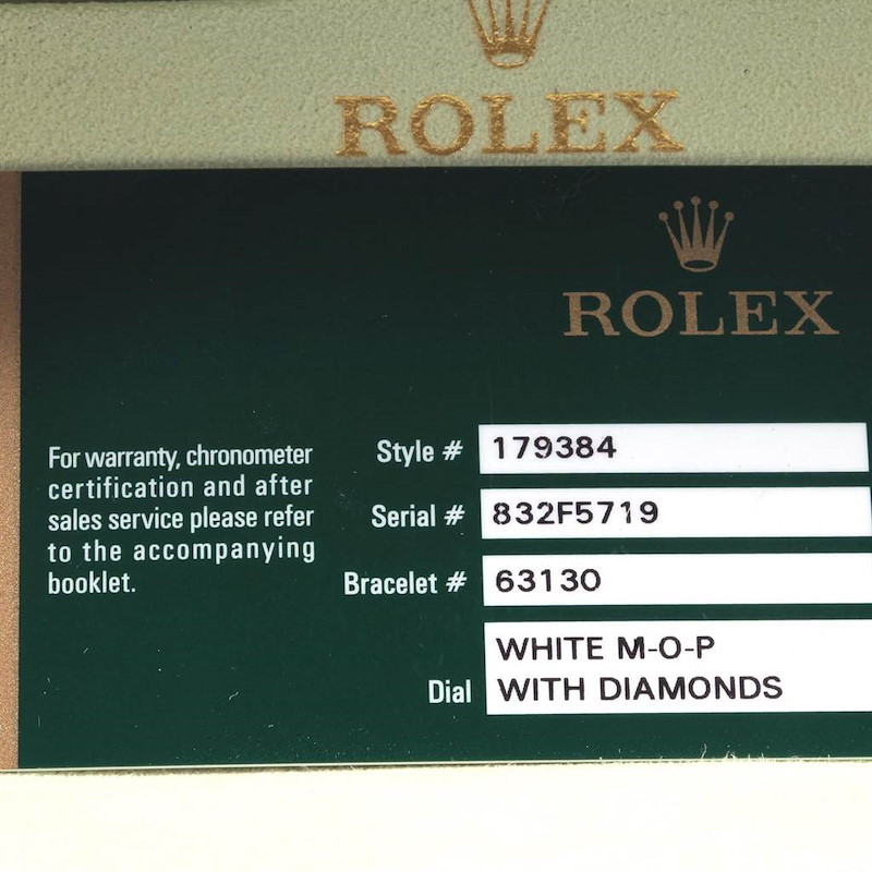 Rolex Datejust 26 Steel White Gold MOP Diamond Watch 179384 Box Card SwissWatchExpo