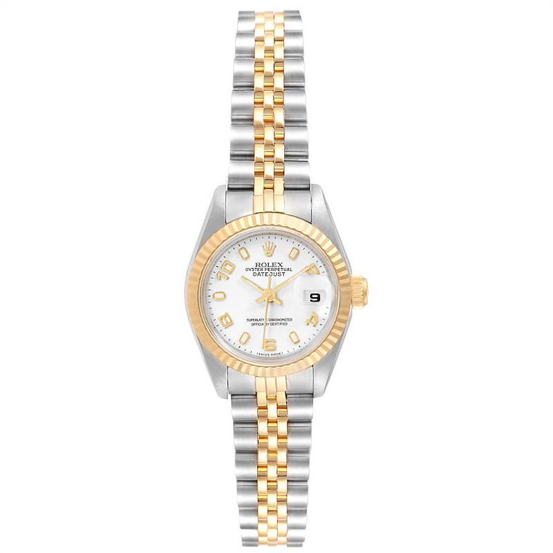 Rolex Datejust 26 Steel Yellow Gold White Dial Ladies Watch 79173 SwissWatchExpo