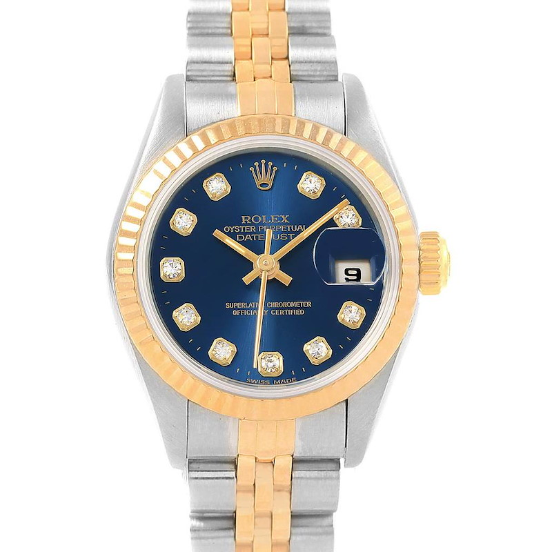 Rolex Datejust Yellow Gold Steel Blue Diamond Dial Ladies Watch 69173 SwissWatchExpo