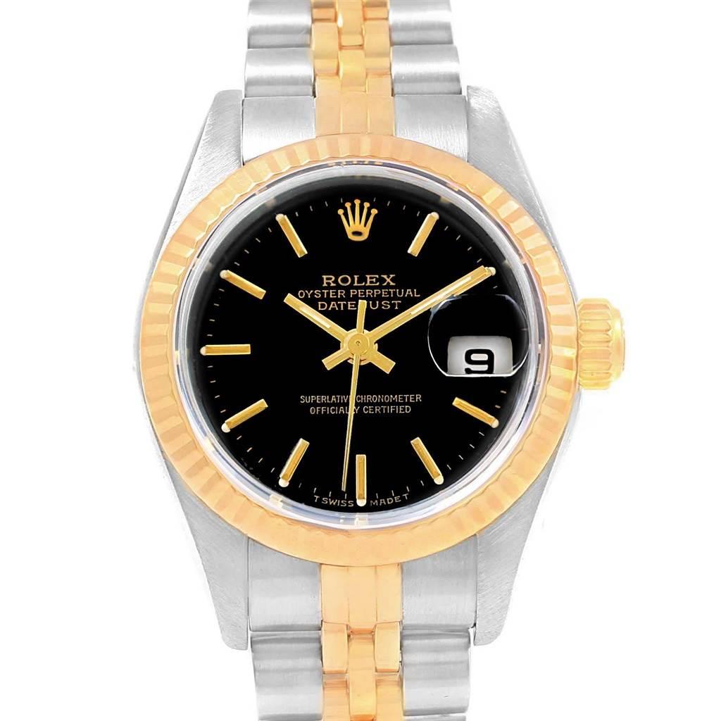 Rolex Datejust 26mm Steel Yellow Gold Black Dial Ladies Watch 69173 Box SwissWatchExpo