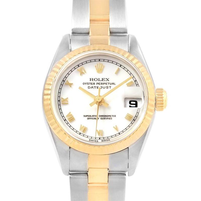 Rolex Datejust 26 Steel Yellow Gold White Roman Dial Ladies Watch 69173 SwissWatchExpo