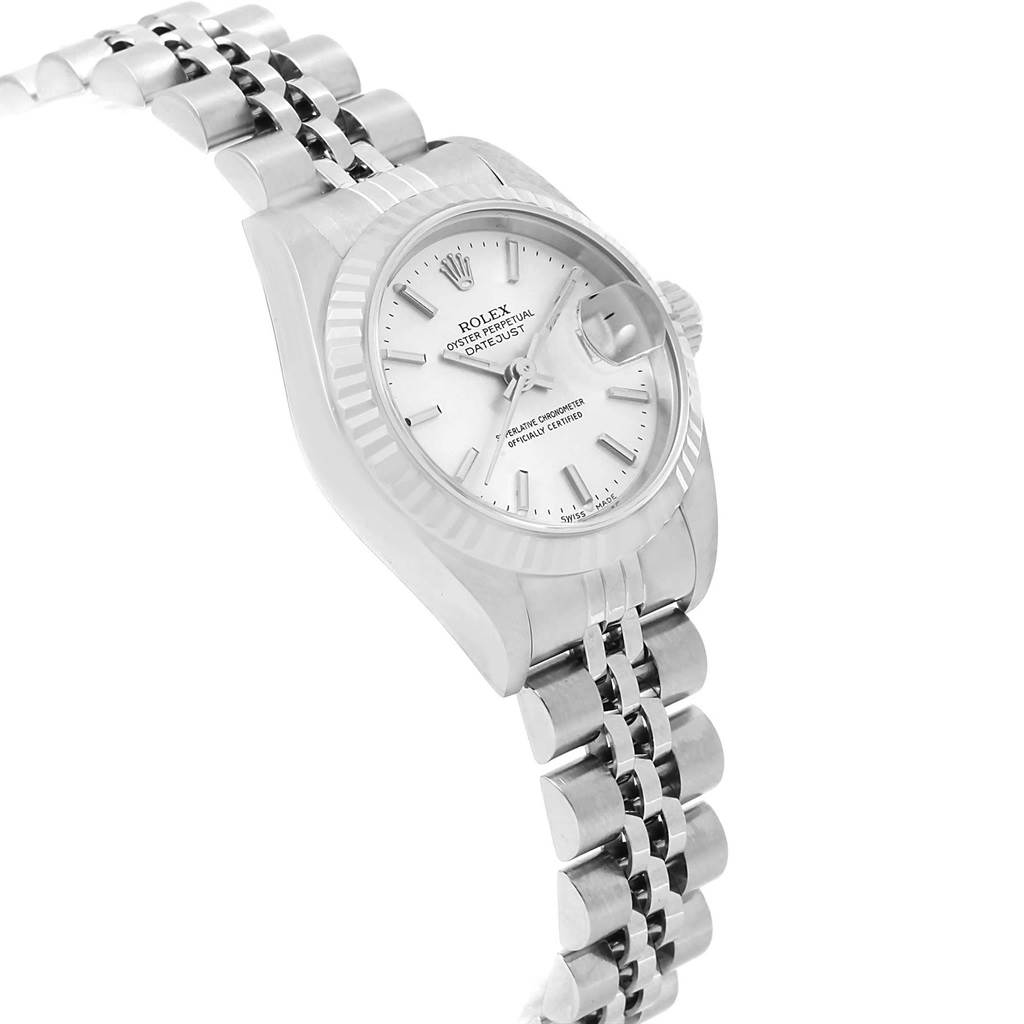 Rolex Datejust Ladies Steel White Gold Silver Baton Dial Watch 79174 SwissWatchExpo