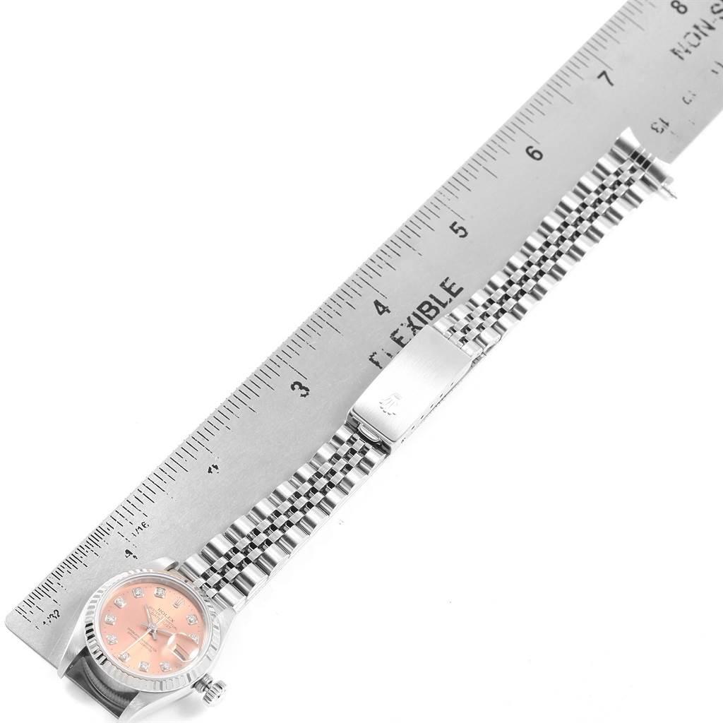 20684 Rolex Datejust Ladies Steel White Gold Salmon Diamond Dial Watch 69174 SwissWatchExpo