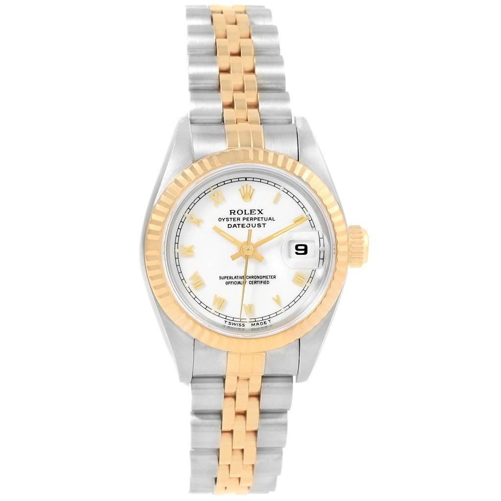 20740x Rolex Datejust 26 Steel Yellow Gold White Roman Dial Ladies Watch 69173 SwissWatchExpo