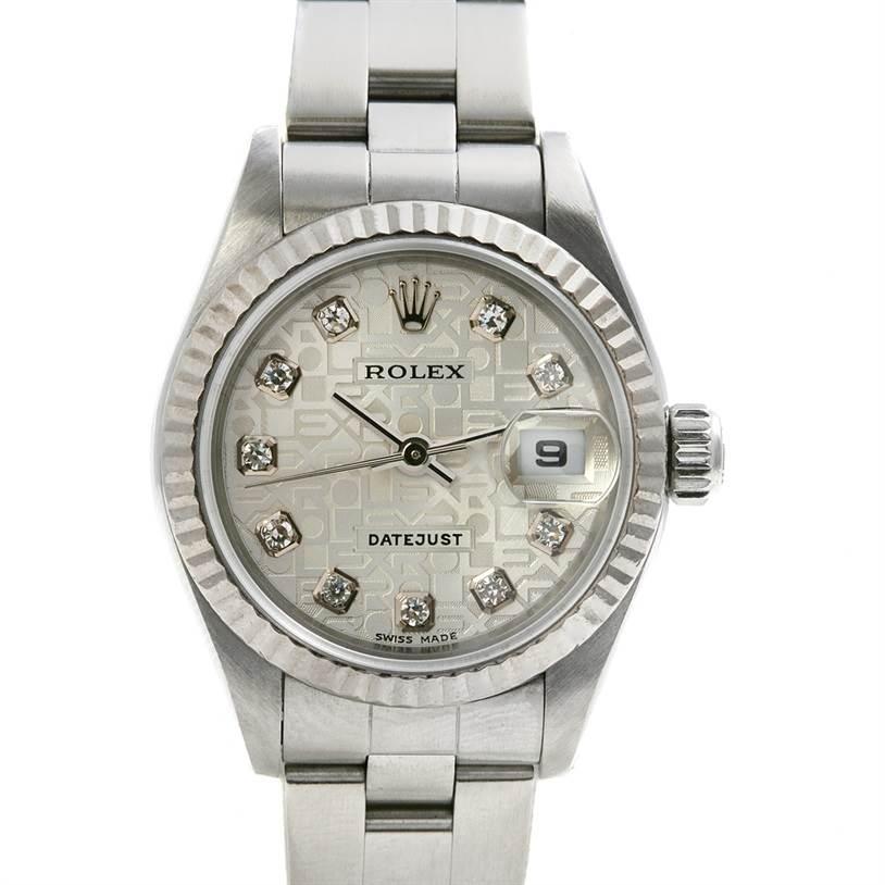2375 Rolex Datejust Ladies Steel 18k White Gold Diamond 79174 SwissWatchExpo