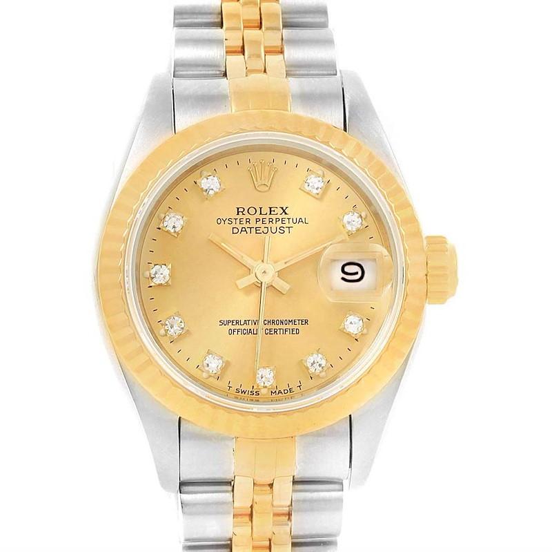 Rolex Datejust Yellow Gold Steel Diamond Dial Ladies Watch 69173 SwissWatchExpo