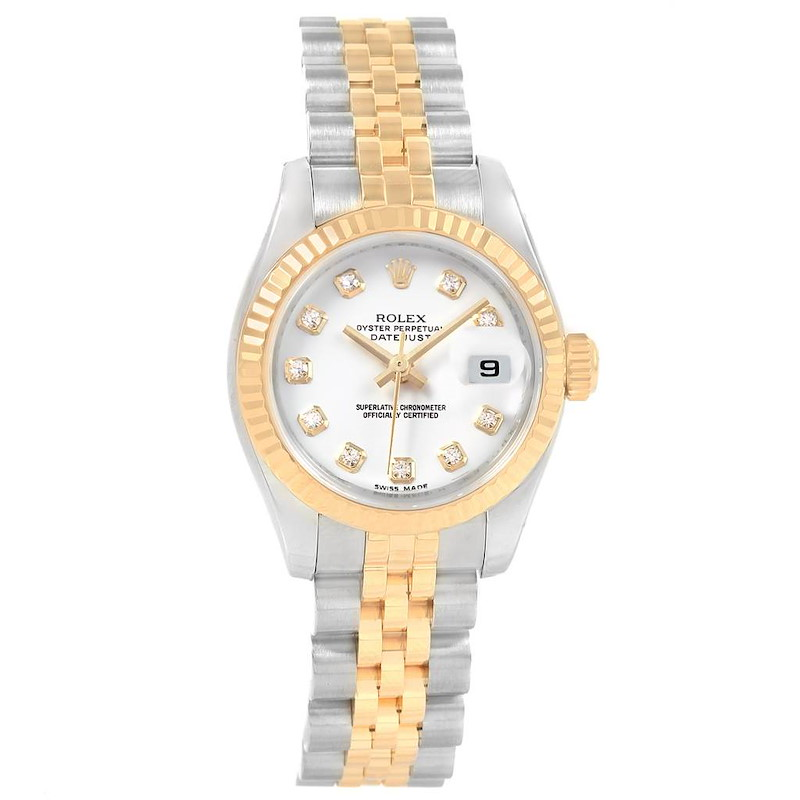 Rolex Datejust 26 Steel Yellow Gold Diamond Ladies Watch 179173 Box SwissWatchExpo