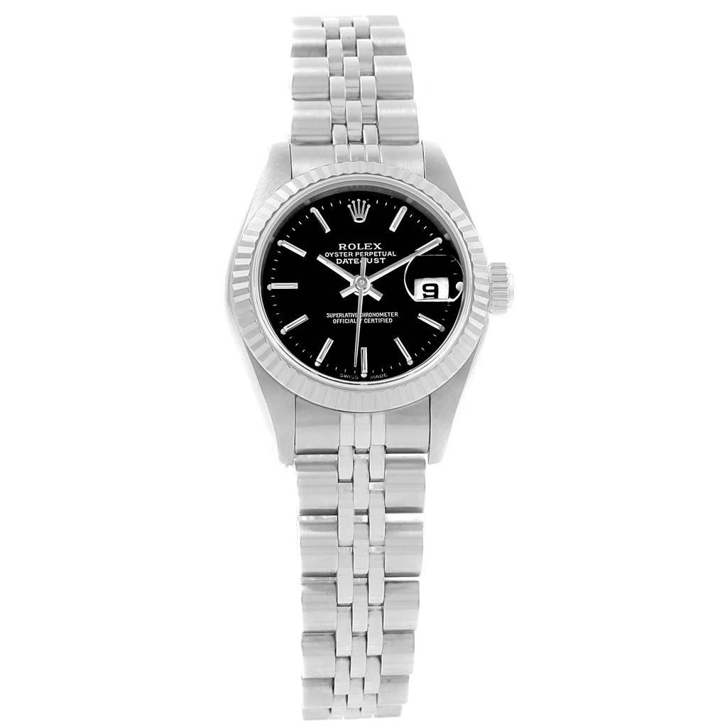 21285 Rolex Datejust Steel White Gold Black Dial Ladies Watch 79174 SwissWatchExpo