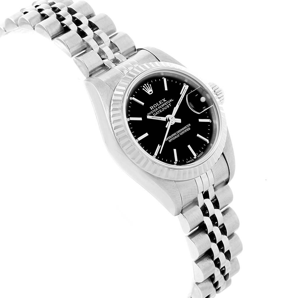 21285 Rolex Datejust Steel White Gold Black Dial Ladies Watch 79174 SwissWatchExpo