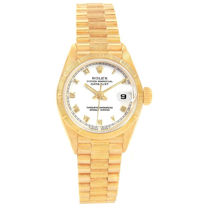 Rolex President Datejust 26 Roman Dial Yellow Gold Ladies Watch 69278 SwissWatchExpo