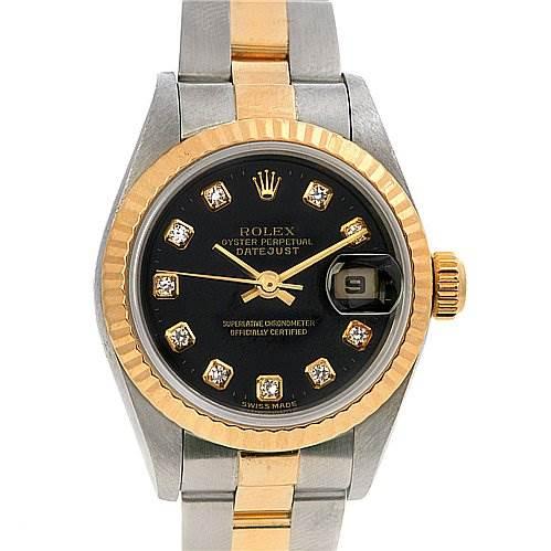 2446 Rolex Datejust Ladies Ss & 18k y Gold Diamond 79173 SwissWatchExpo