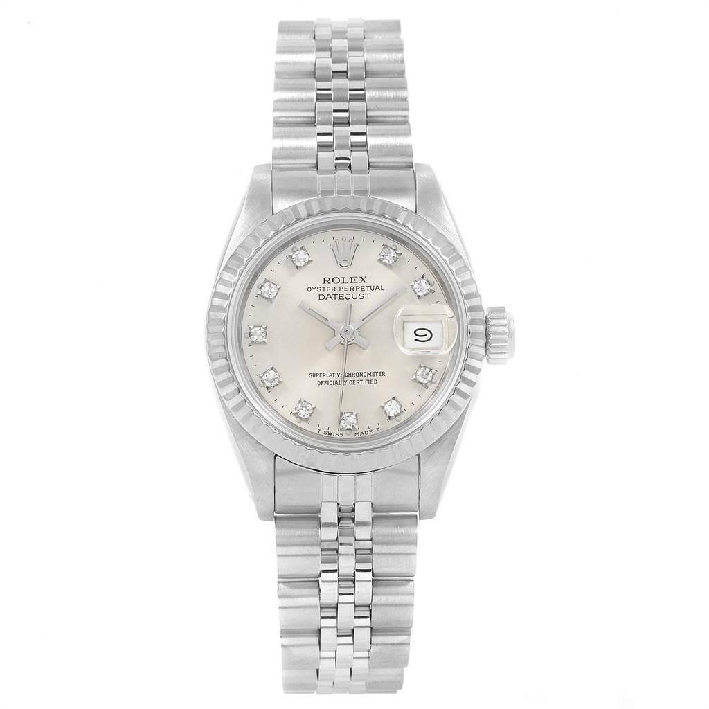Rolex Datejust Ladies Steel White Gold Silver Diamond Dial Watch 69174