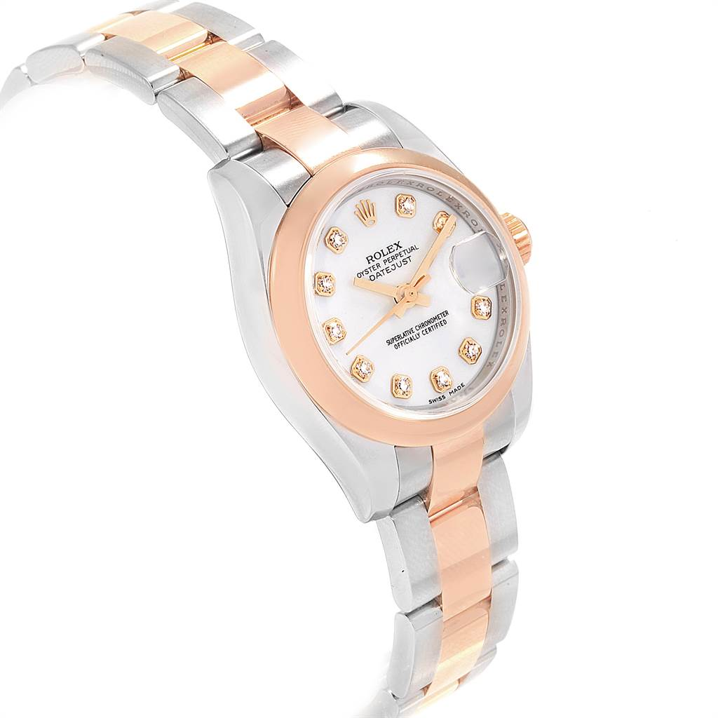 18815A Rolex Datejust Steel Rose Gold Diamond Ladies Watch 179161 Box Papers SwissWatchExpo