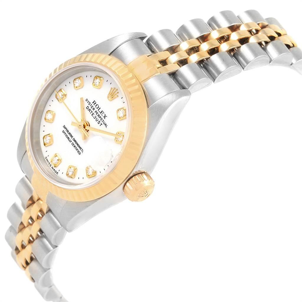 Rolex Datejust Steel Yellow Gold White Diamond Dial Ladies Watch 79173 SwissWatchExpo