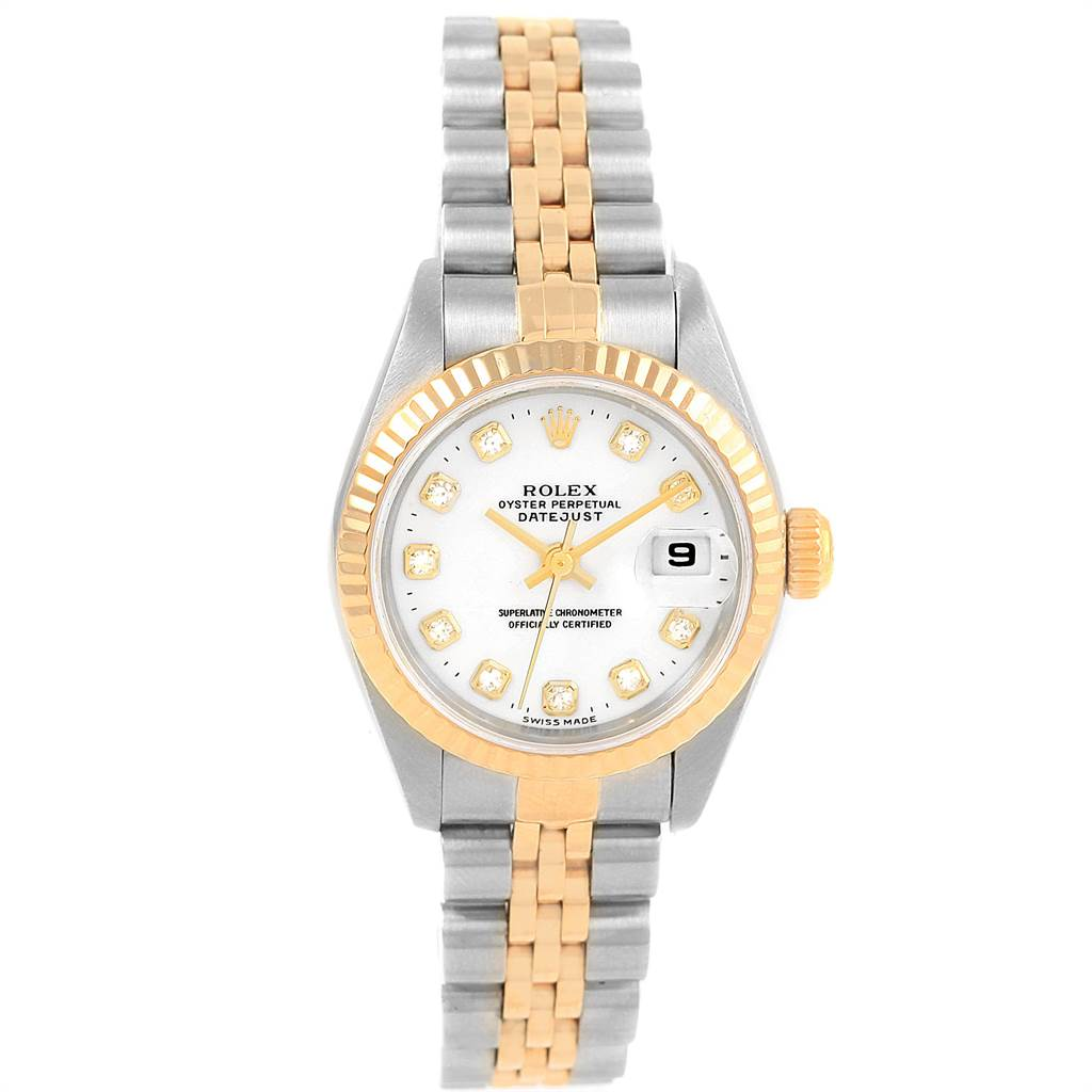 21404 Rolex Datejust Steel Yellow Gold White Diamond Dial Ladies Watch 79173 SwissWatchExpo