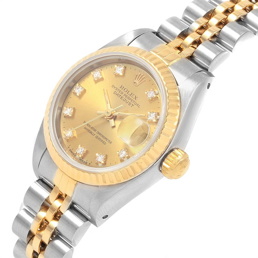 21482 Rolex Datejust 26 Steel Yellow Gold Diamond Dial Ladies Watch 69173 SwissWatchExpo