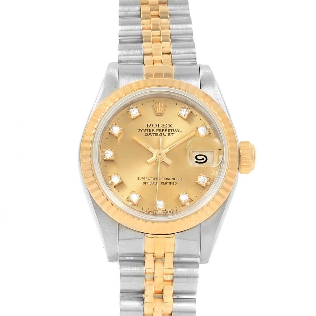 21482 Rolex Datejust 26 Steel Yellow Gold Diamond Dial Ladies Watch 69173 SwissWatchExpo