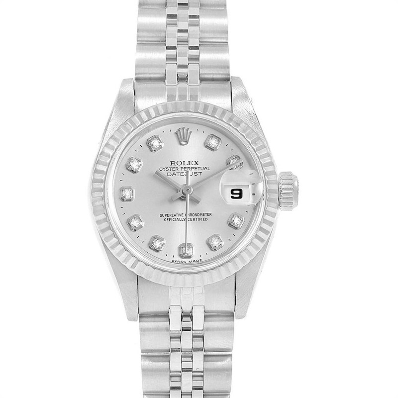 Rolex Datejust 26 Steel White Fluted Bezel Diamond Ladies Watch 69174 SwissWatchExpo