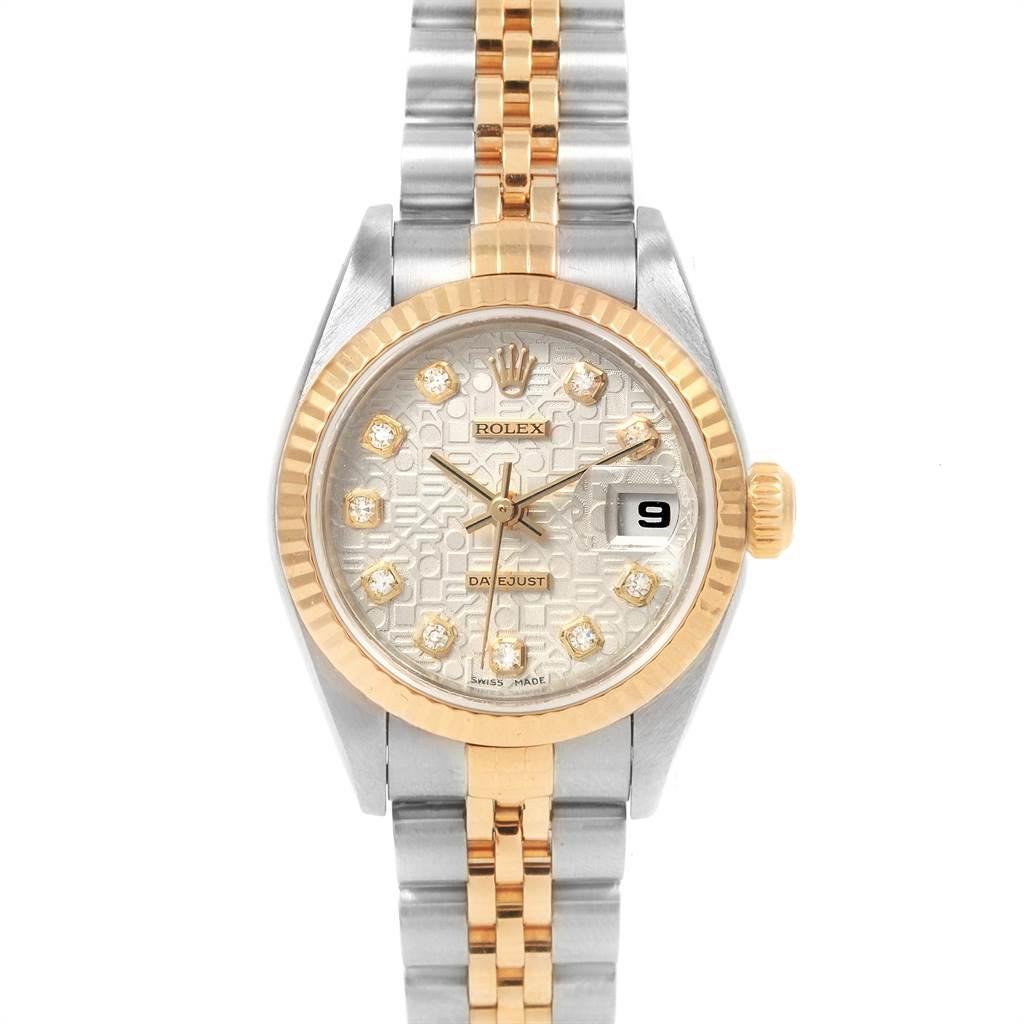21707 Rolex Datejust 26 Steel Yellow Gold Diamond Dial Ladies Watch 79173 SwissWatchExpo