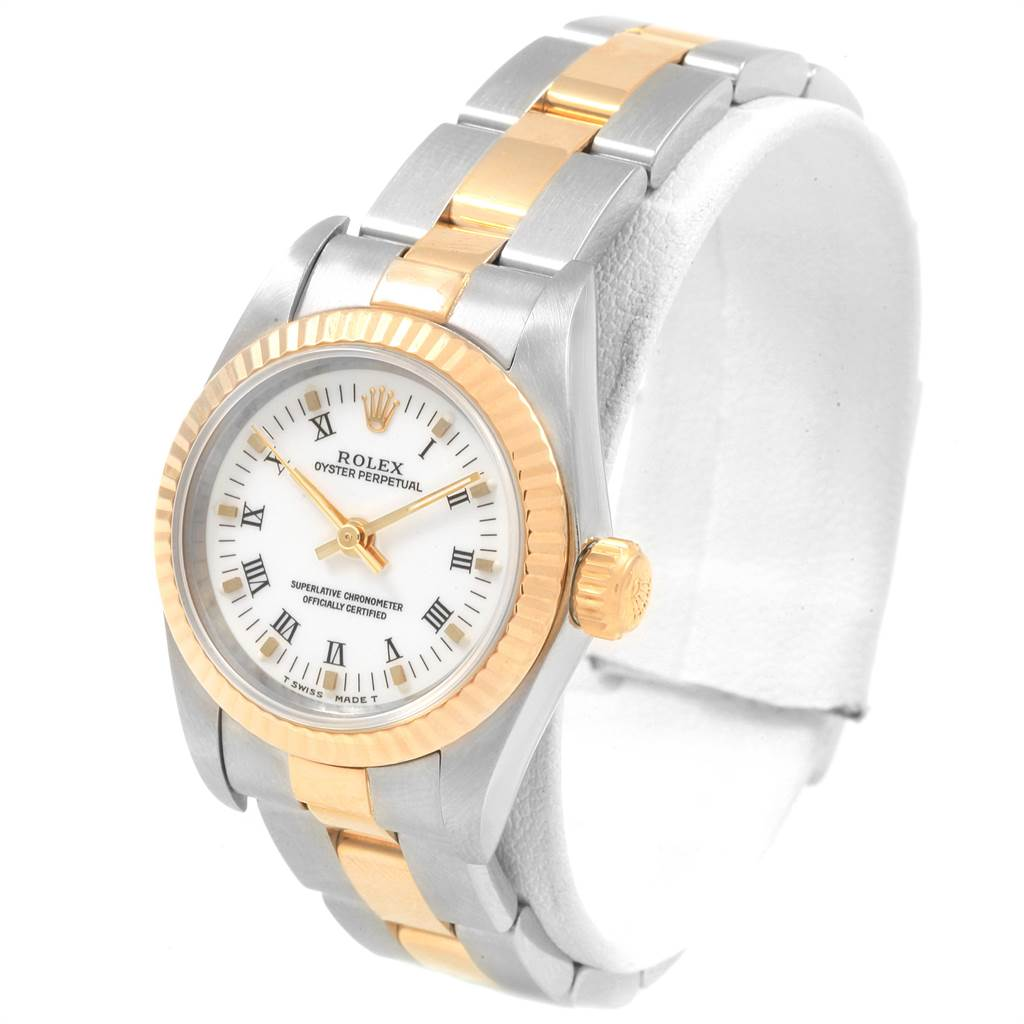 21674 Rolex Datejust Steel Yellow Gold White Roman Dial Ladies Watch 69173 SwissWatchExpo