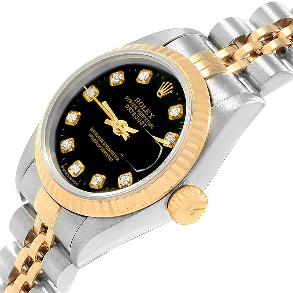 20148 Rolex Datejust Steel Yellow Gold Black Diamond Dial Ladies Watch 79173 SwissWatchExpo