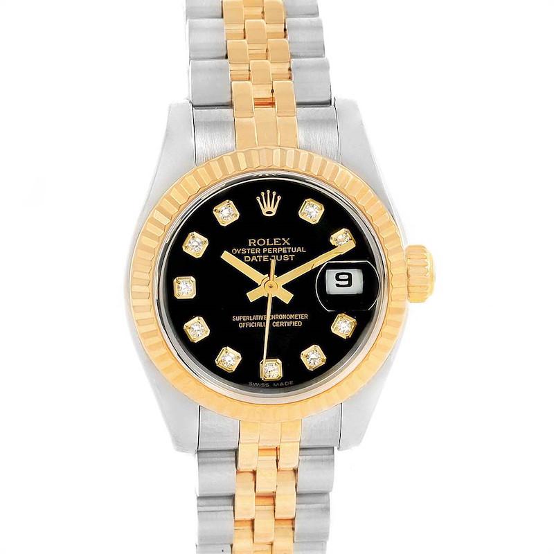 Rolex Datejust 26mm Steel Yellow Gold Diamond Dial Ladies Watch 79173 SwissWatchExpo