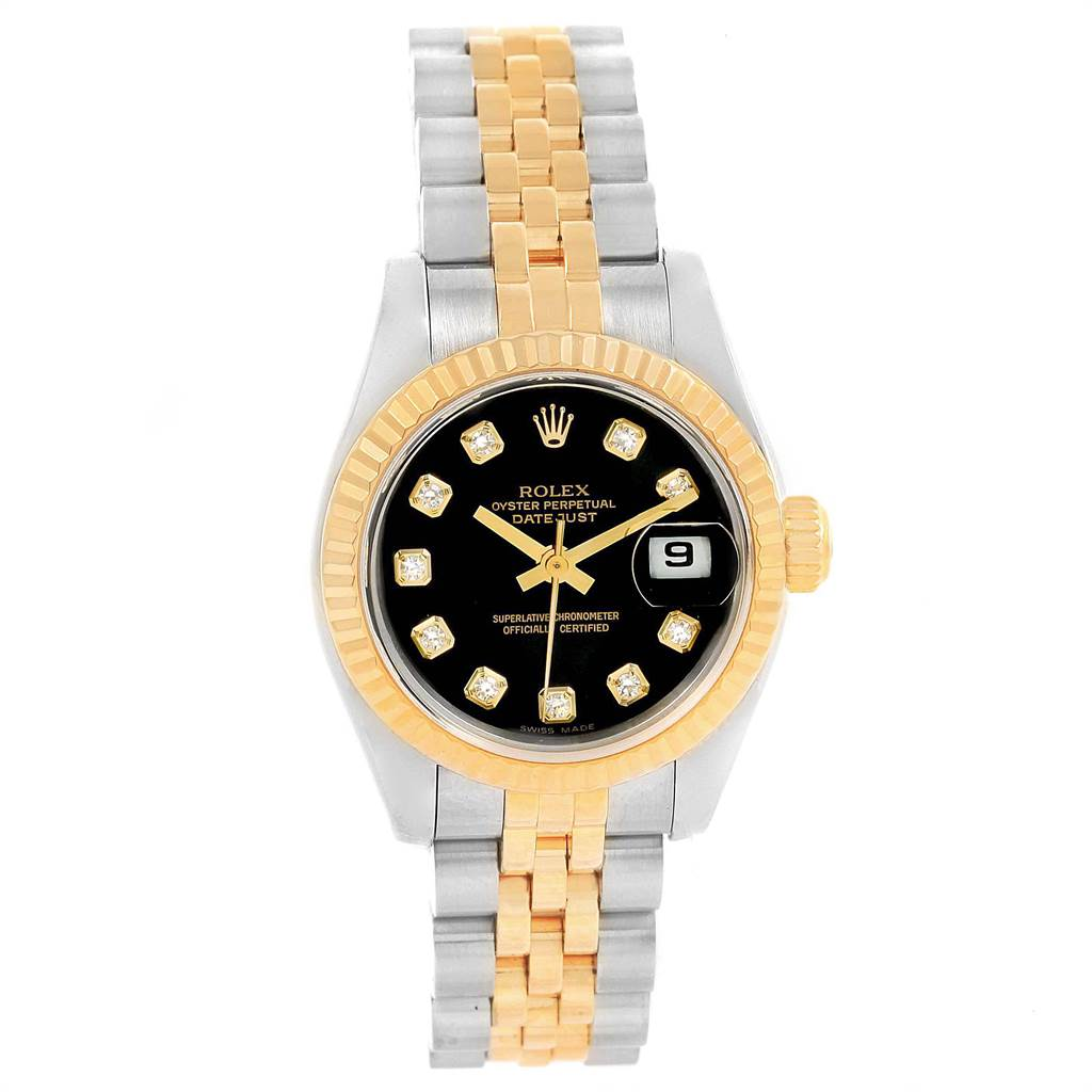 21718 Rolex Datejust 26mm Steel Yellow Gold Diamond Dial Ladies Watch 79173 SwissWatchExpo