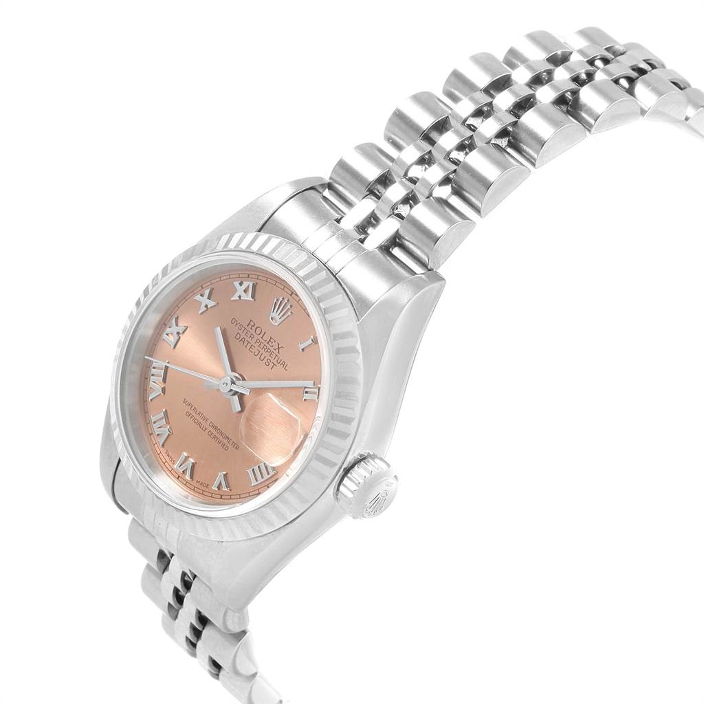 21666 Rolex Datejust Steel White Gold Salmon Roman Dial Ladies Watch 79174 SwissWatchExpo