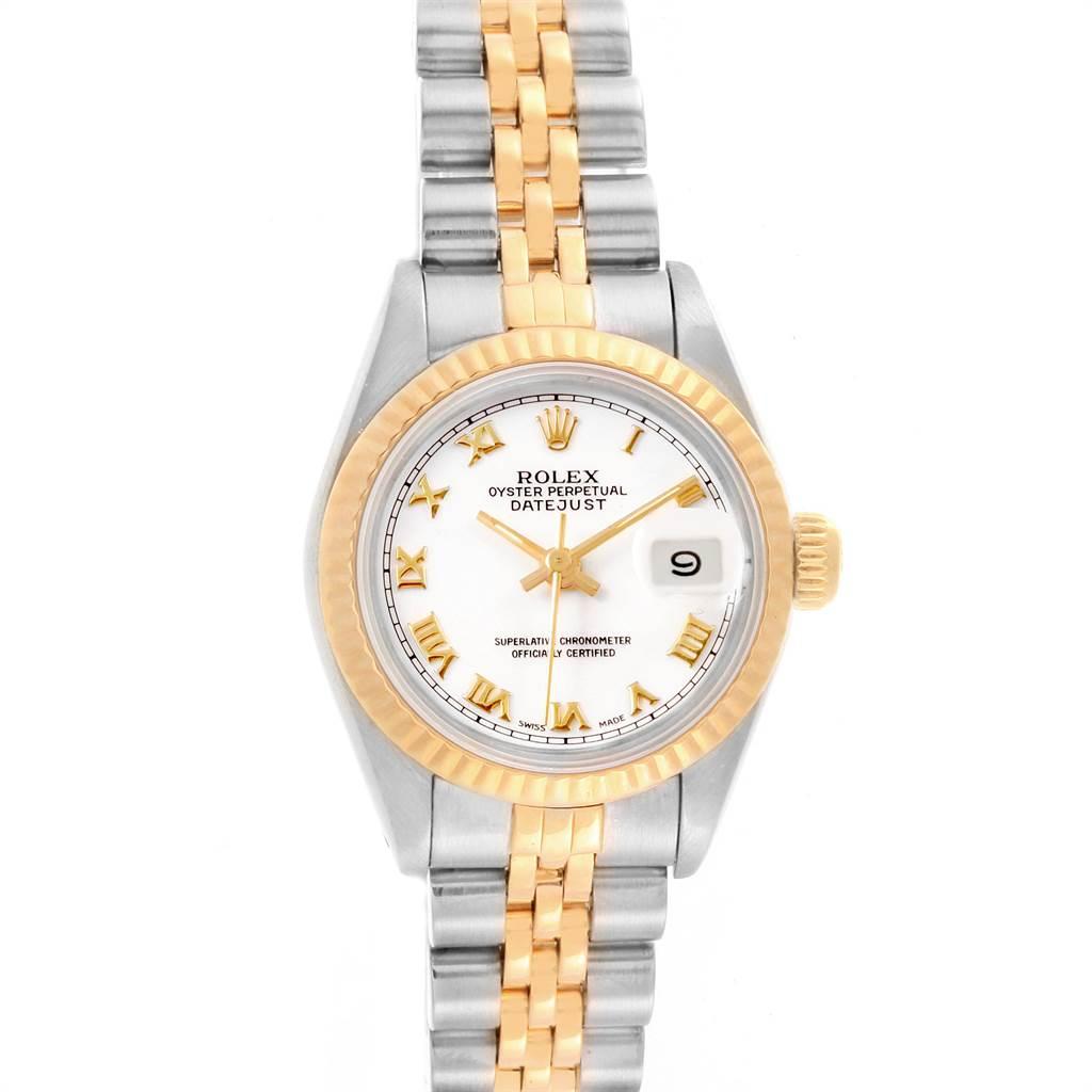 21019 Rolex Datejust Steel Yellow Gold White Roman Dial Ladies Watch 69173 SwissWatchExpo
