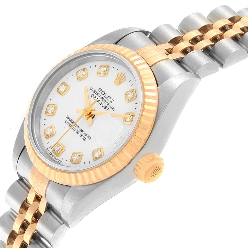 21914 Rolex Datejust Steel Yellow Gold White Diamond Dial Ladies Watch 69173 SwissWatchExpo