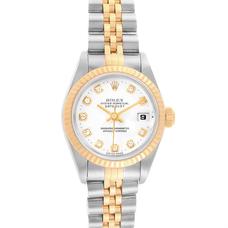 Rolex Datejust Steel Yellow Gold White Diamond Dial Ladies Watch 69173 SwissWatchExpo