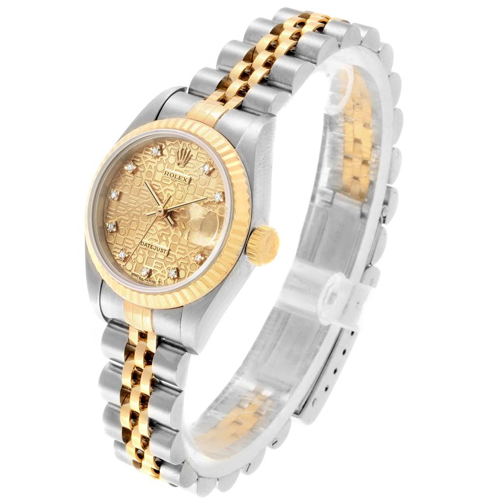 21894 Rolex Datejust Steel Yellow Gold Anniversary Diamond Ladies Watch 69173 SwissWatchExpo