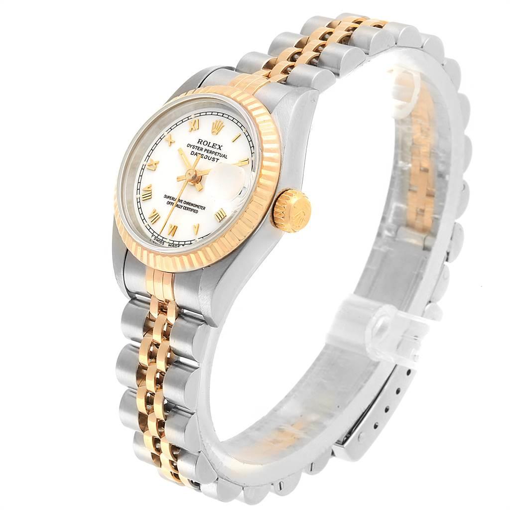 21830 Rolex Datejust 26mm Steel Yellow Gold White Dial Ladies Watch 69173 SwissWatchExpo