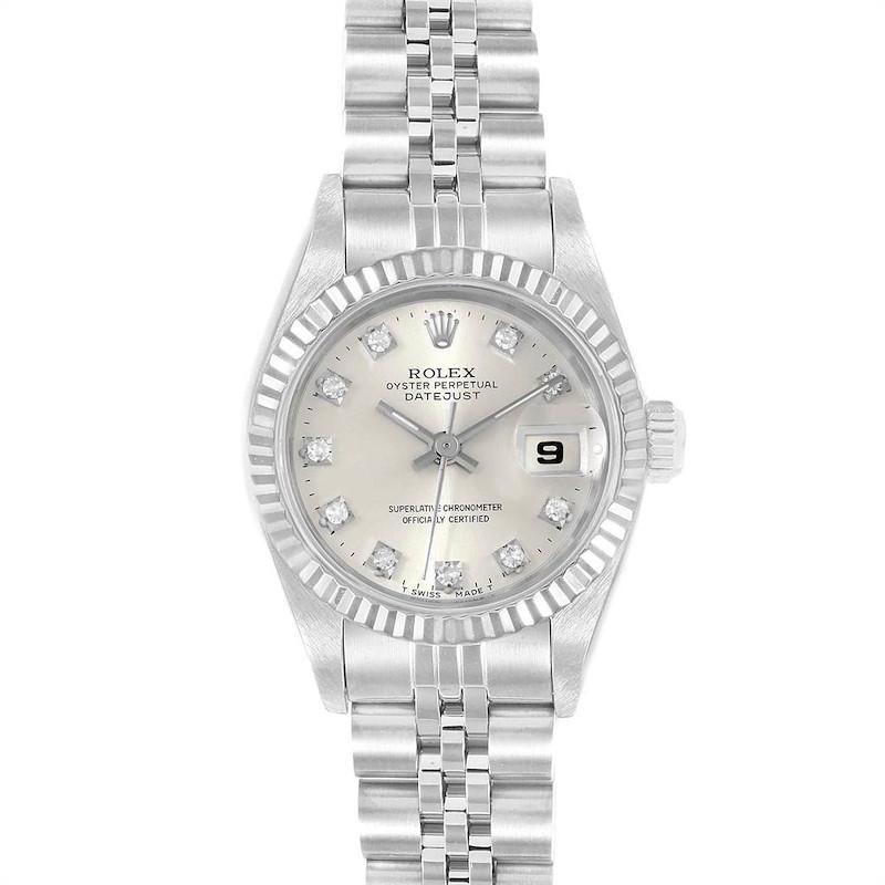 Rolex Datejust 26 Steel White Fluted Bezel Diamond Ladies Watch 69174 SwissWatchExpo