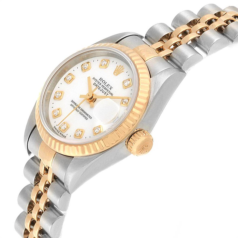 Rolex Datejust Steel Yellow Gold White Diamond Dial Ladies Watch 79173 SwissWatchExpo