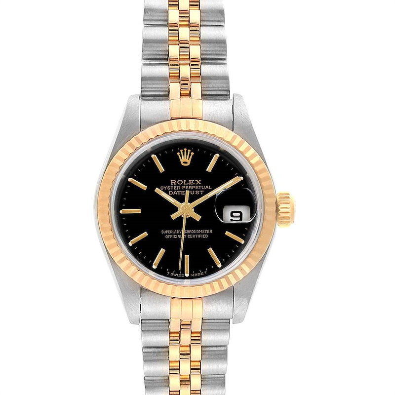 Rolex Datejust 26mm Steel Yellow Gold Black Dial Ladies Watch 69173 SwissWatchExpo