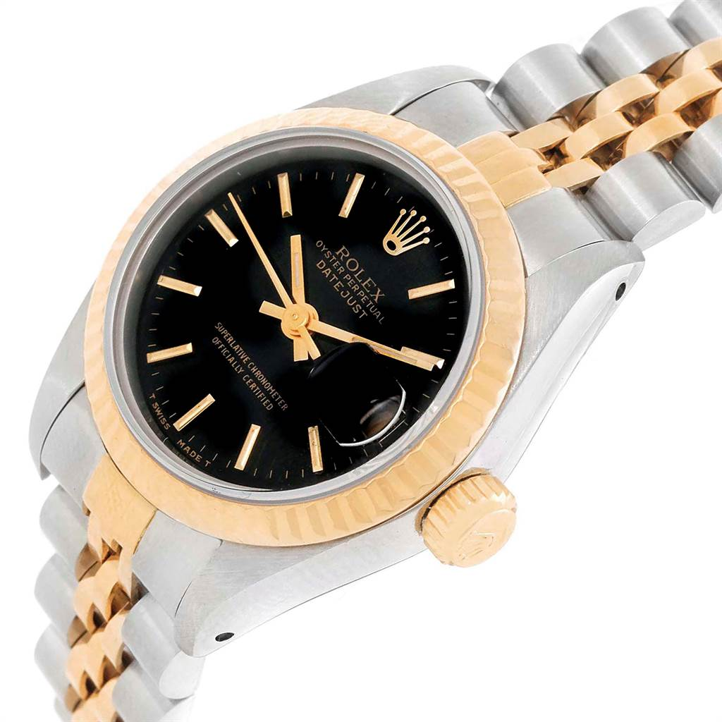22159 Rolex Datejust 26mm Steel Yellow Gold Black Dial Ladies Watch 69173 SwissWatchExpo