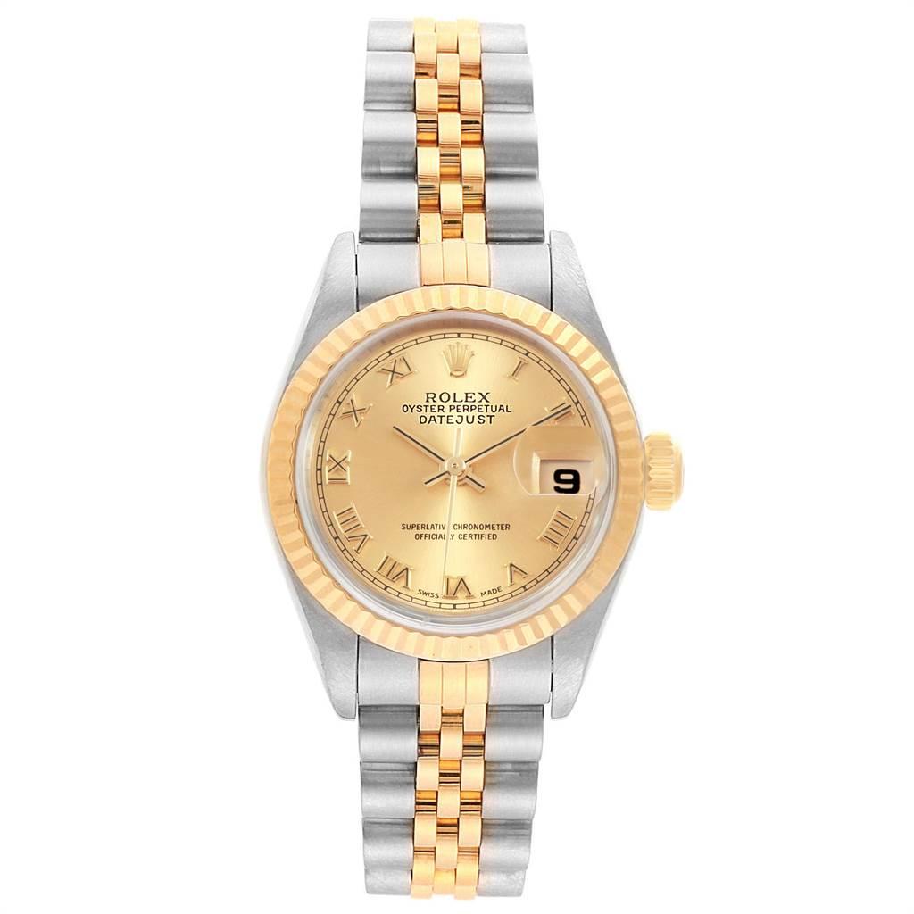 22443 Rolex Datejust Steel Yellow Gold Roman Dial Ladies Watch 79173 SwissWatchExpo