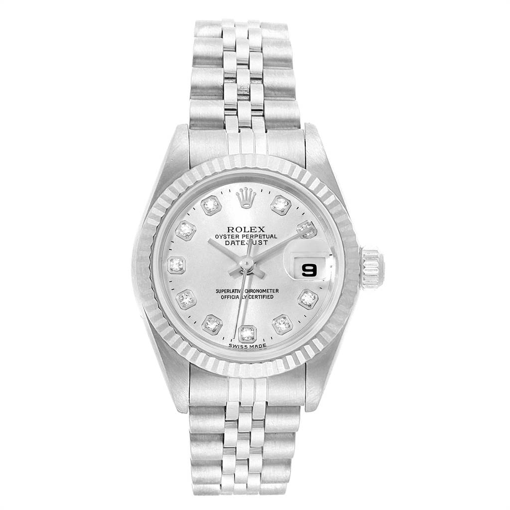 22407 Rolex Datejust Steel White Gold Silver Diamond Dial Ladies Watch 79174 SwissWatchExpo