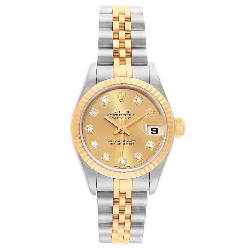 Rolex Datejust 26mm Steel Yellow Gold Diamond Ladies Watch 79173 SwissWatchExpo