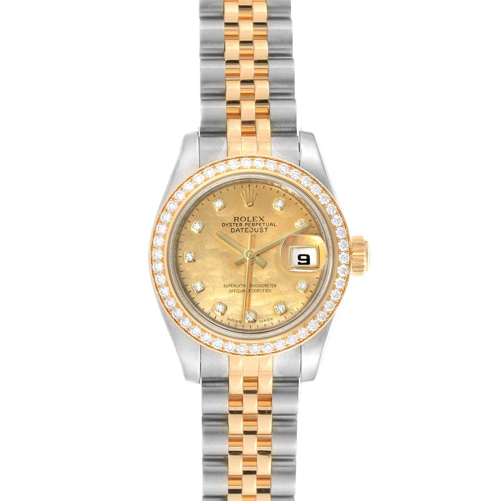 Rolex Datejust Steel Yellow Gold Diamond Goldust Dial Ladies Watch 179383 SwissWatchExpo