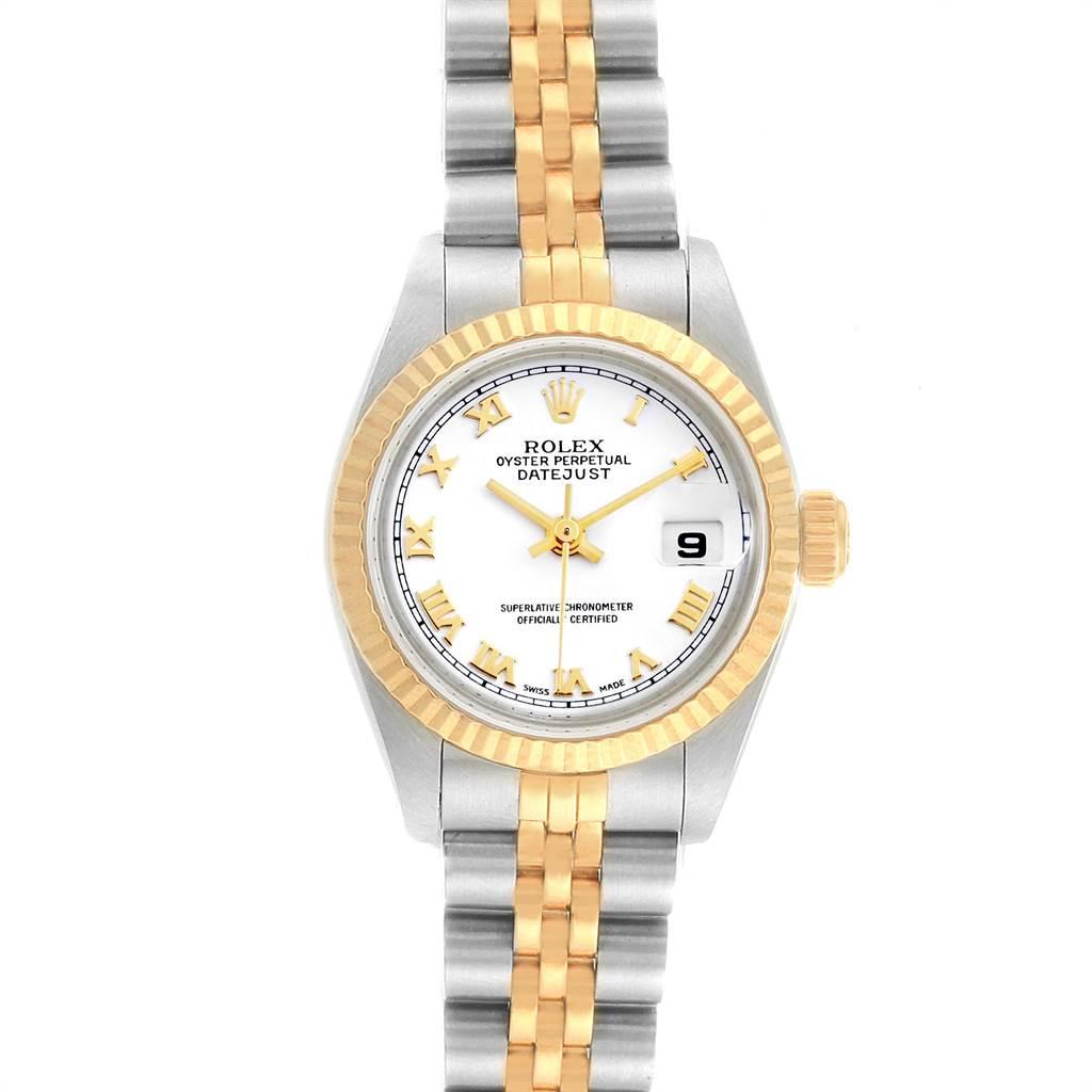 Rolex Datejust 26mm Steel Yellow Gold White Dial Ladies Watch 69173