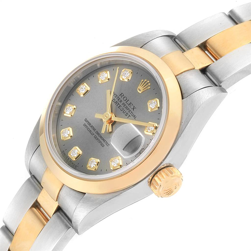 Rolex Datejust Steel Yellow Gold Diamond Ladies Watch 69163 Box Papers SwissWatchExpo
