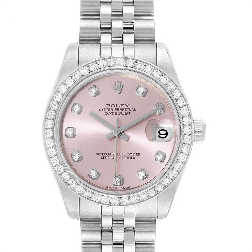 Rolex Datejust Midsize 31 Steel White Gold Diamond Ladies Watch 178384 SwissWatchExpo